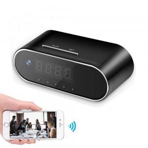 Wireless table clock IR Night Vision mini dvr camcorder app remote 1080P wifi Camera alarm clock