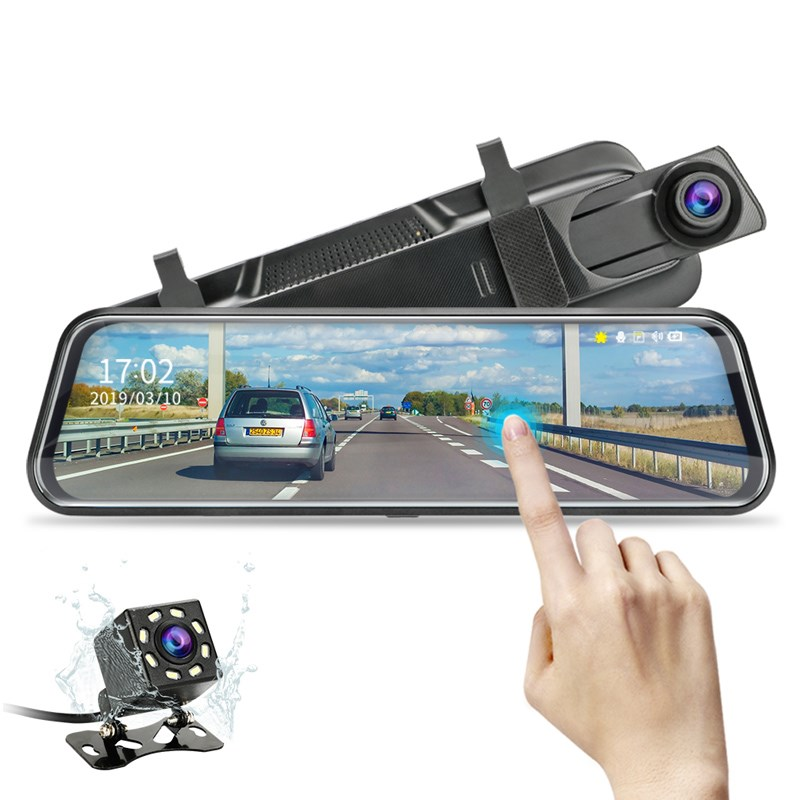 10 inch IPS touch screen Hisilicon 3355 dual camera rearview mirror car dvr hd 1080P for universal car Featured Image