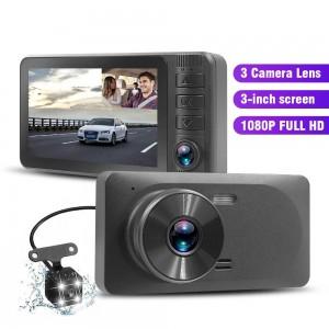 3.0 Inch IPS Car DVR 3 Cameras Lens Dash Camera Dual Lens With Rearview Camera Auto Registrator Dvrs Night Vision Recorder