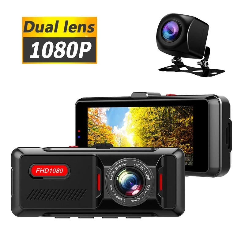 HD 3.16 Inch Dual Lens Image 1080P Hidden Wide Angle Driving Recorder Dash Cam Dual Lens Car DVR Camera Support Reversing Featured Image