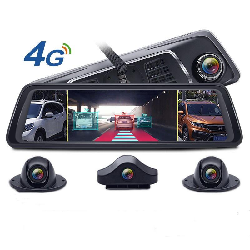1080P 10 inch Stream Media 4 Channel camera ADAS Android 4G GPS navigation wifi bluetooth rearview mirror cam recorder Featured Image