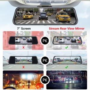 10 inch IPS touch screen Hisilicon 3355 dual camera rearview mirror car dvr hd 1080P for universal car