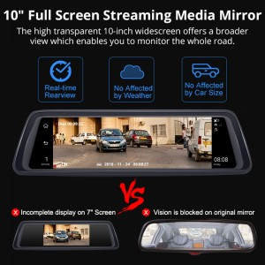 1080P 10 inch Stream Media 4 Channel camera ADAS Android 4G GPS navigation wifi bluetooth rearview mirror cam recorder