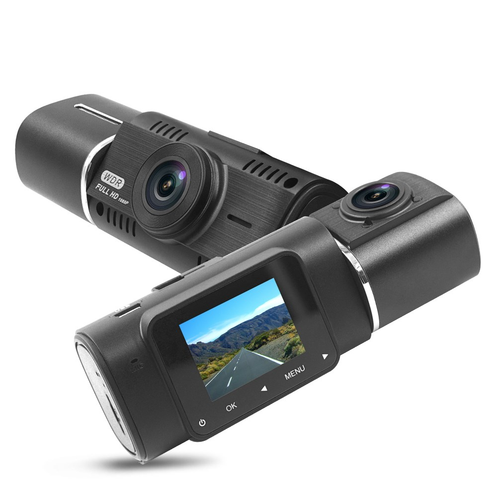 Dual Channel FHD 1080P video 1.5 inch front and inner gps tracker car dash camera