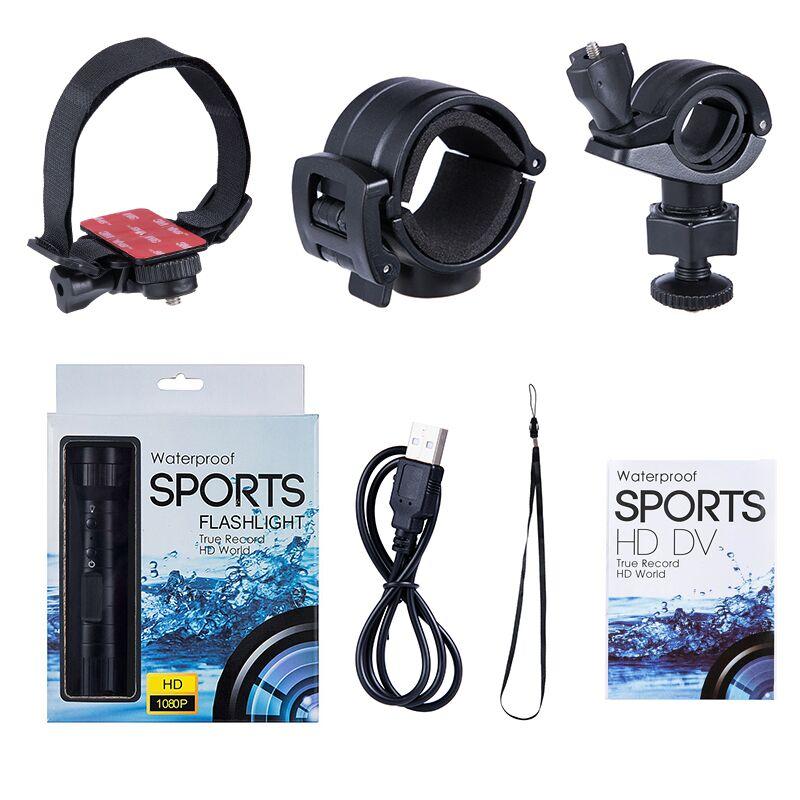 China wholesale Hd 720p Action Camera - New 1080P mini sport camera helmet Hd 120 wide Angle waterproof flashlight loop recording sport camera  – Yikoo