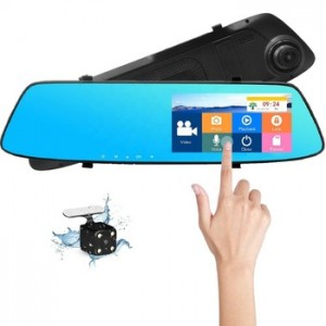 5.0 inch touch screen full hd 1080P dual rearview mirror vehicle traveling data recorder with night vision