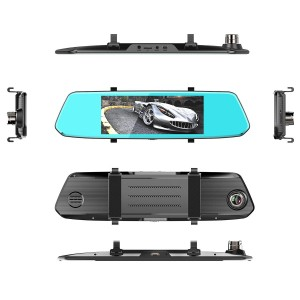7 inch touch screen dual lens camera night vision rearview mirror dash cam