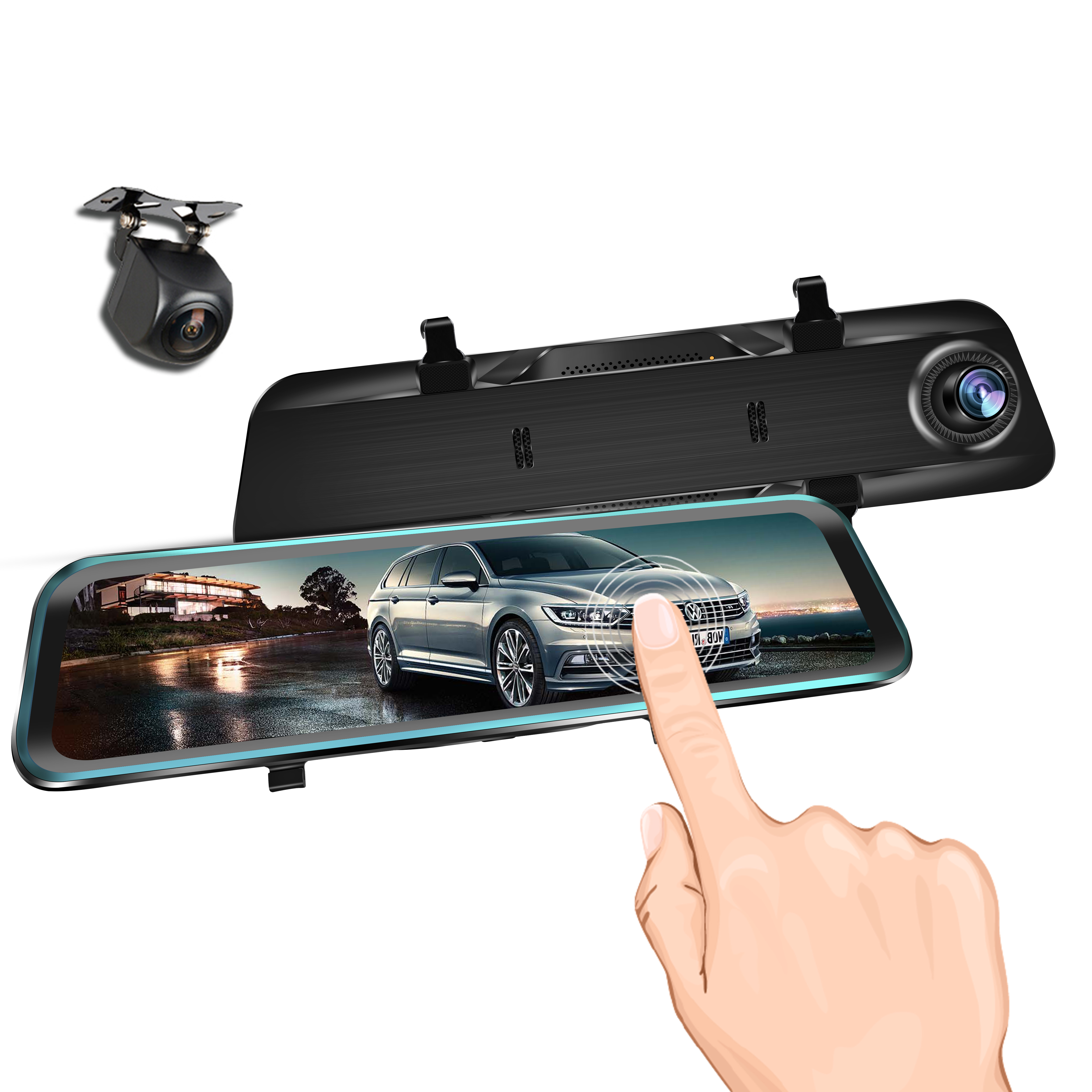 Car Dvr Full HD 1080P Stream Media RearView Mirror 12 Inch DashCam Night Vision Car Camera Dual Lens Auto Registrar Featured Image