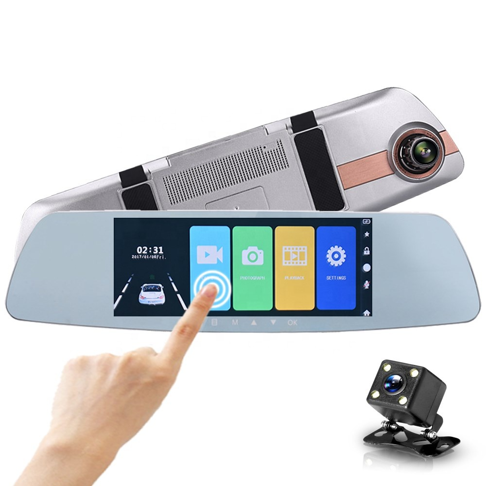 Full hd 1080P 7.0 Inch IPS touch screen dual lens rear view mirror monitor car dash cam