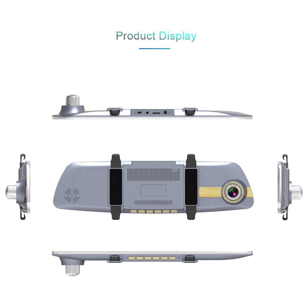 Full hd 1080P 7.0 Inch IPS touch screen dual lens rear view mirror monitor car dash cam