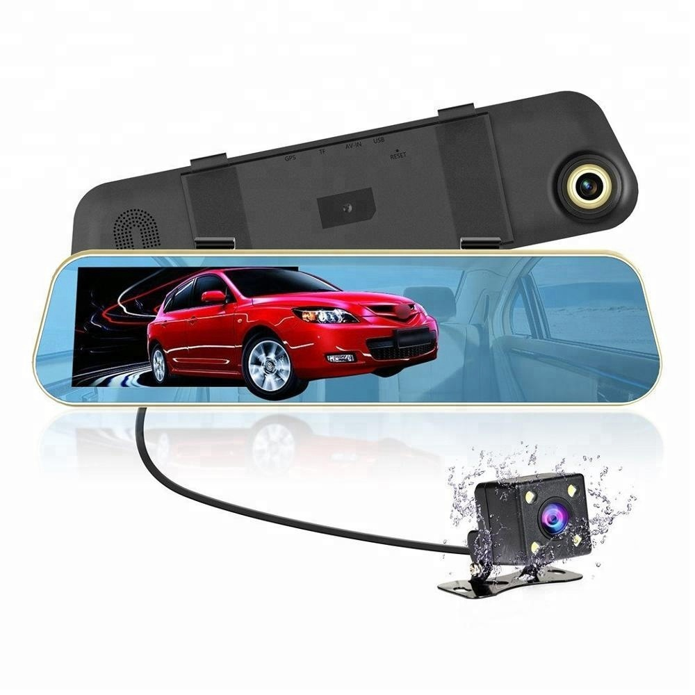 4.3 inch 1080p full hd rearview mirror car black box night vision camera