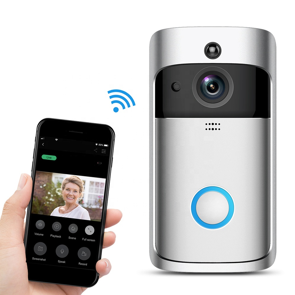Smart WiFi Video dyrabjöllu Camera Visual Intercom með Chime nætursjón Wireless Home Security Camera