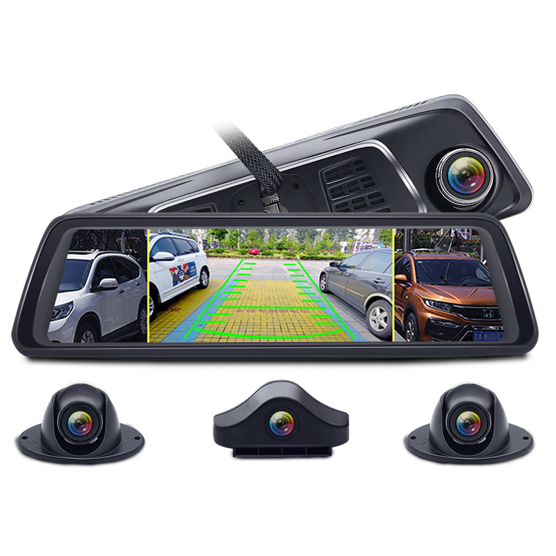 "1080P 10"" Stream Media 4 Channel camera ADAS Android 4G  GPS navigation wifi bluetooth smart rearview mirror camera recorder"