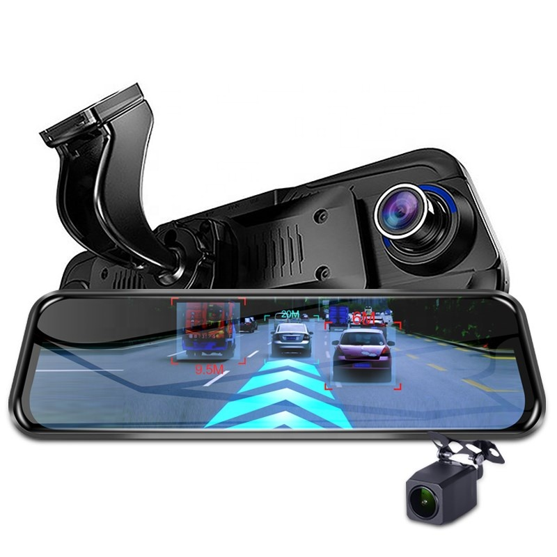 Yikoo 10 inch 4G ADAS streaming car rearview mirror camera video recorder gps wifi dash cam
