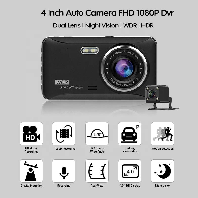 4.0 inch HD 1080P driver recorder hd car dvr camera dual lens night vision car camera