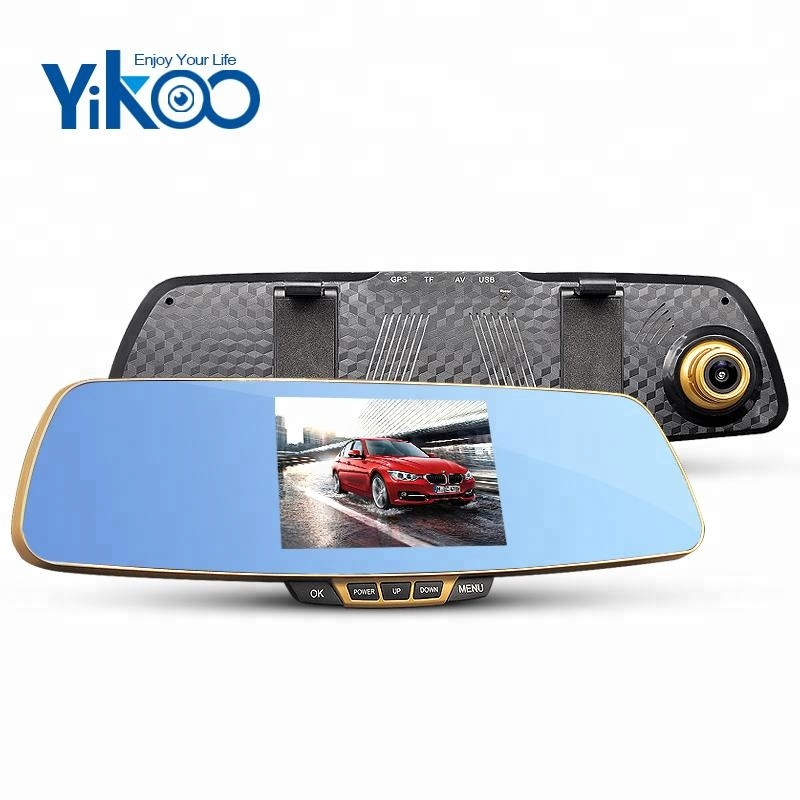 5.0 inch full hd 1080p dual camera rear view camera mirror parking sensor