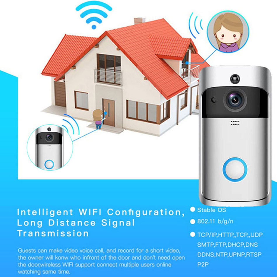 Smart WiFi Video Doorbell Camera Visual Intercom with Chime Night vision Wireless Home Security Camera