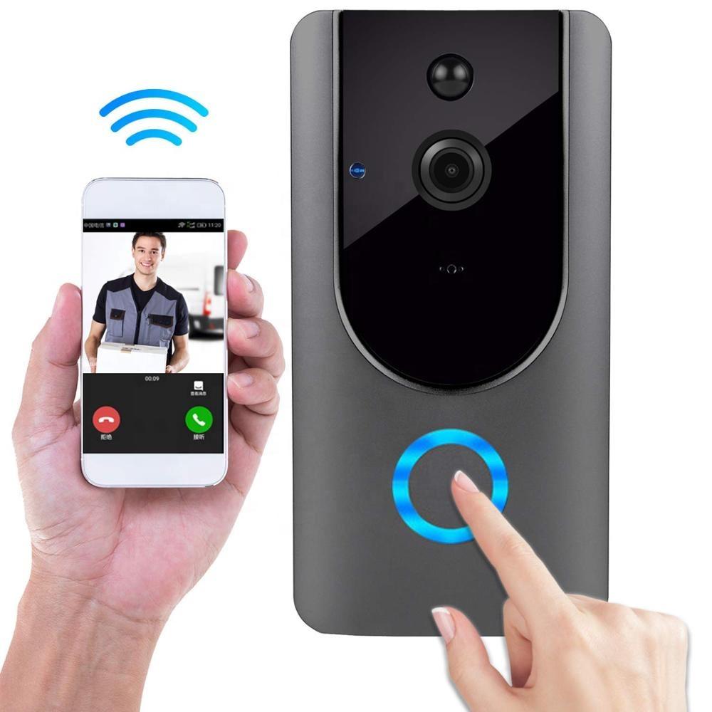 HD 720P долг опсег безжичен врата домофон PIR детекција на движење за ноќно гледање видео WiFi паметни врата прстен