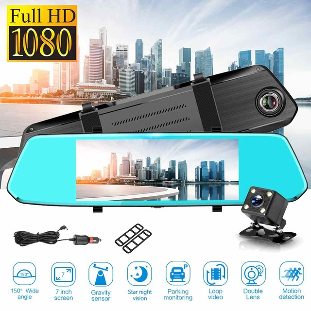 7 inch touch screen dual lens camera night vision rearview mirror dash cam Featured Image