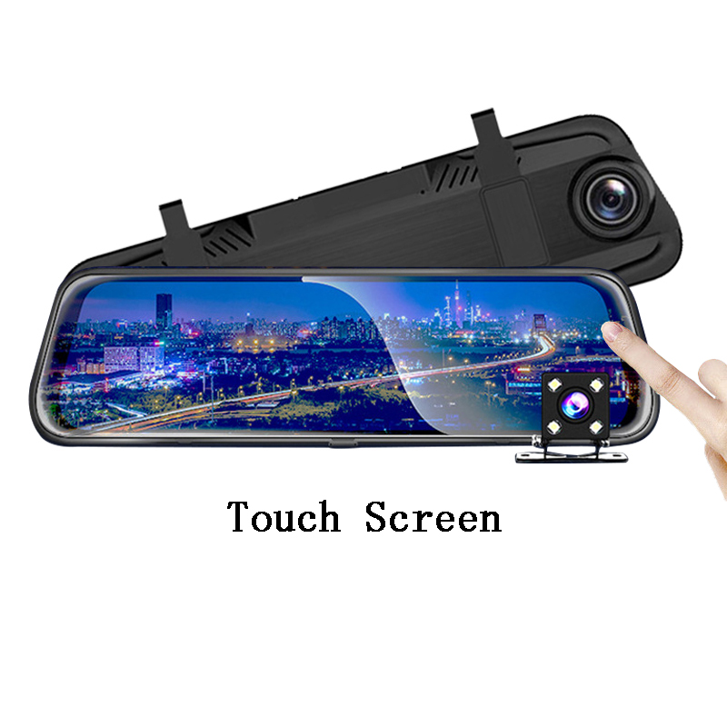 10 inch IPS touch screen full 1080P dual lens  mirror rearview car camera Featured Image